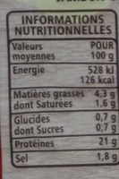 Jambon Supérieur découenné dégraissé - Informations nutritionnelles - fr