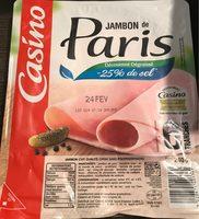 Jambon de Paris découenné dégraissé -25% de sel par rapport à la moyenne des jambons cuits choix du marché - Produit