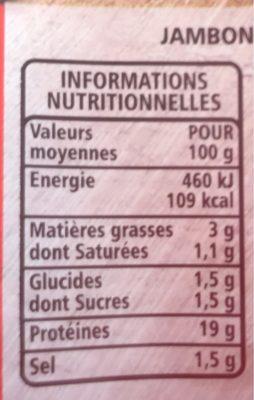 Jambon de Paris découenné dégraissé -25% de sel par rapport à la moyenne des jambons cuits choix du marché - Informations nutritionnelles
