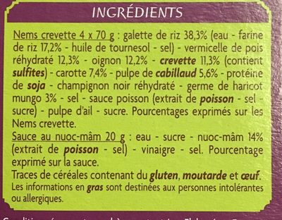 4 nems à la crevette - Ingredients - fr