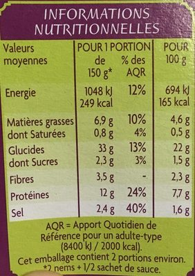4 nems à la crevette - Nutrition facts - fr