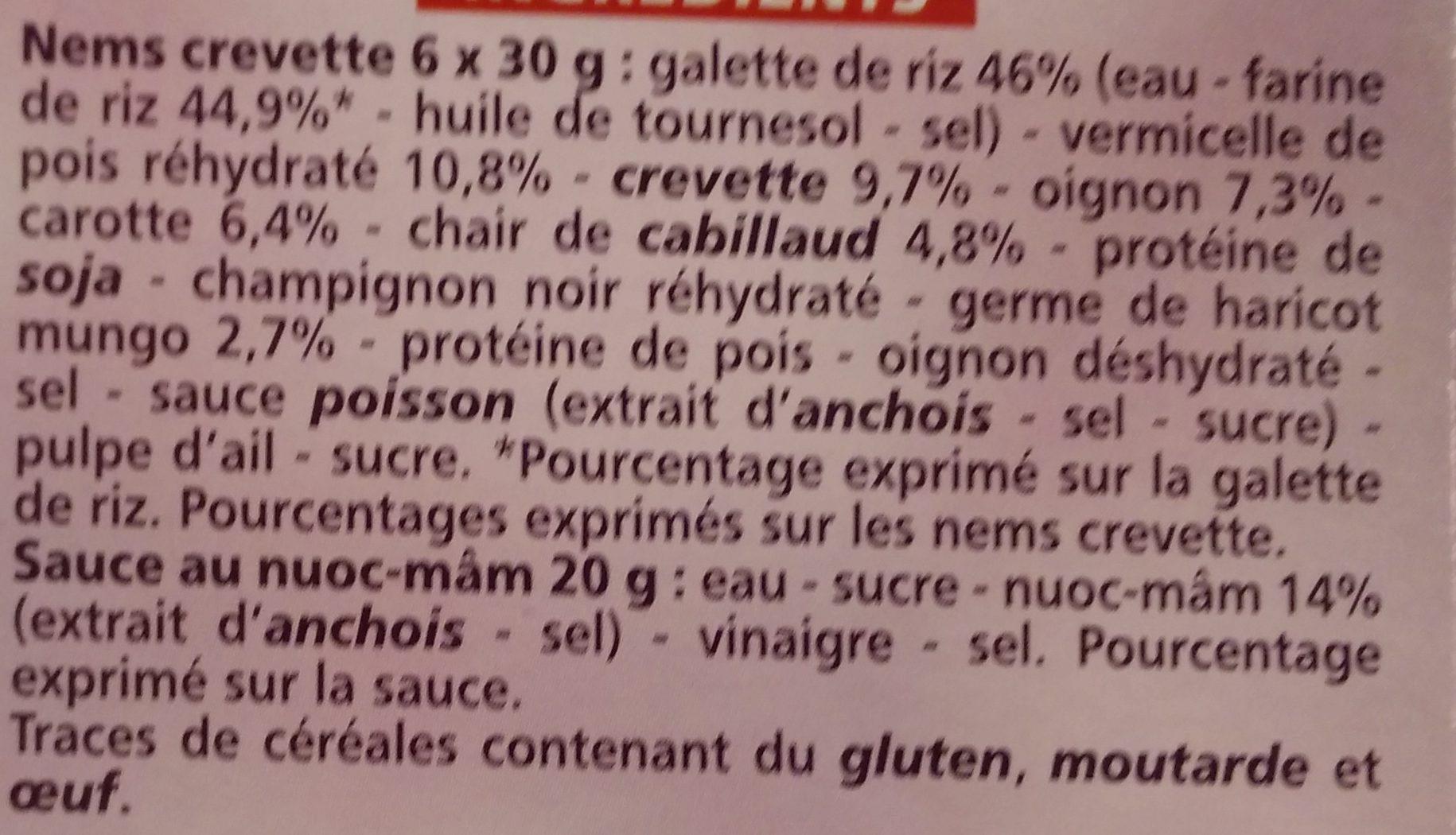 Barquette de 6 mini nems à la crevette - Ingrédients - fr