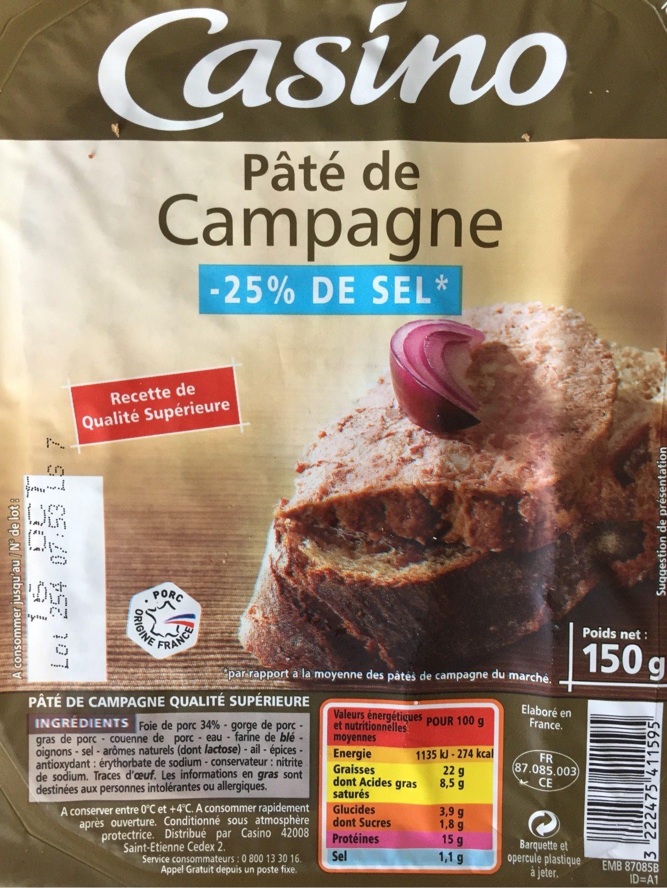 Pâté de campagne réduit en sel de 25 % * * par rapport à la moyenne des pâtés de campagne supérieurs du marché - Produit - fr