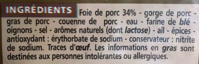 Pâté de campagne réduit en sel de 25 % * * par rapport à la moyenne des pâtés de campagne supérieurs du marché - Ingrédients - fr