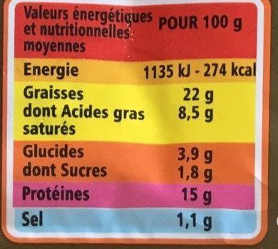 Pâté de campagne réduit en sel de 25 % * * par rapport à la moyenne des pâtés de campagne supérieurs du marché - Informations nutritionnelles - fr