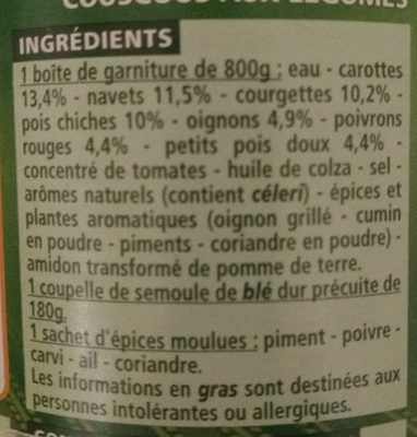 Couscous aux légumes - Ingredients