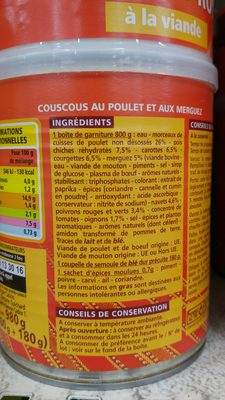 Couscous Royal poulet merguez - Ingredients