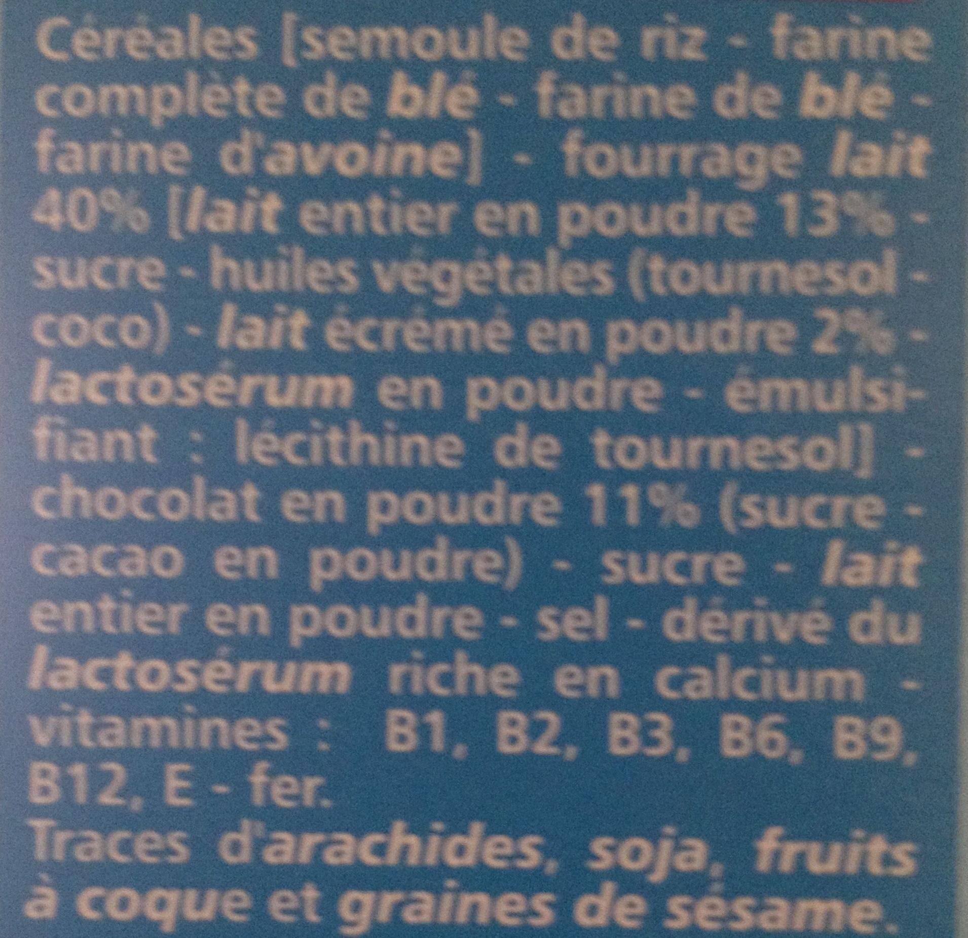 Fourés choc' coeur lait - Ingredients - fr