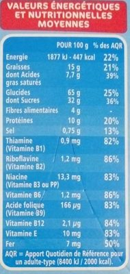 Fourés choc' coeur lait - Informations nutritionnelles