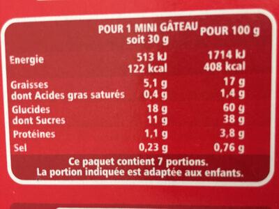 Mini goûters coeur fondant fraise - Nutrition facts