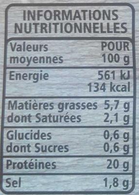 Jambon cuit supérieur avec couenne - Informations nutritionnelles