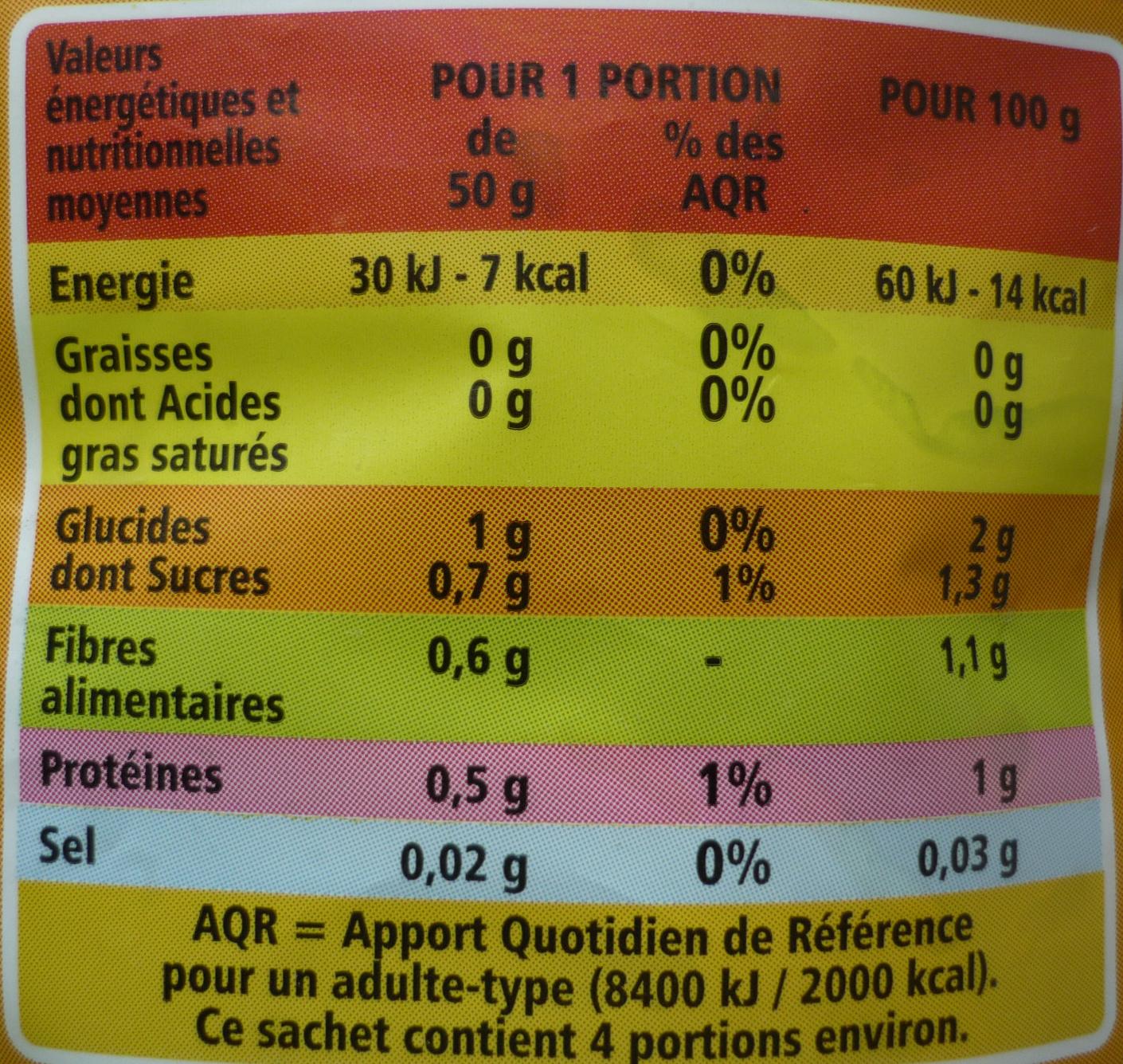 Cœur de laitue, Prêt à consommer (4 à 5 portions) + 20 % Gratuit - Informations nutritionnelles