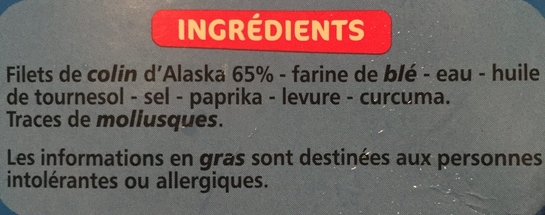 Bâtonnets de filets de colin d'Alaska panés - Ingrediënten - fr