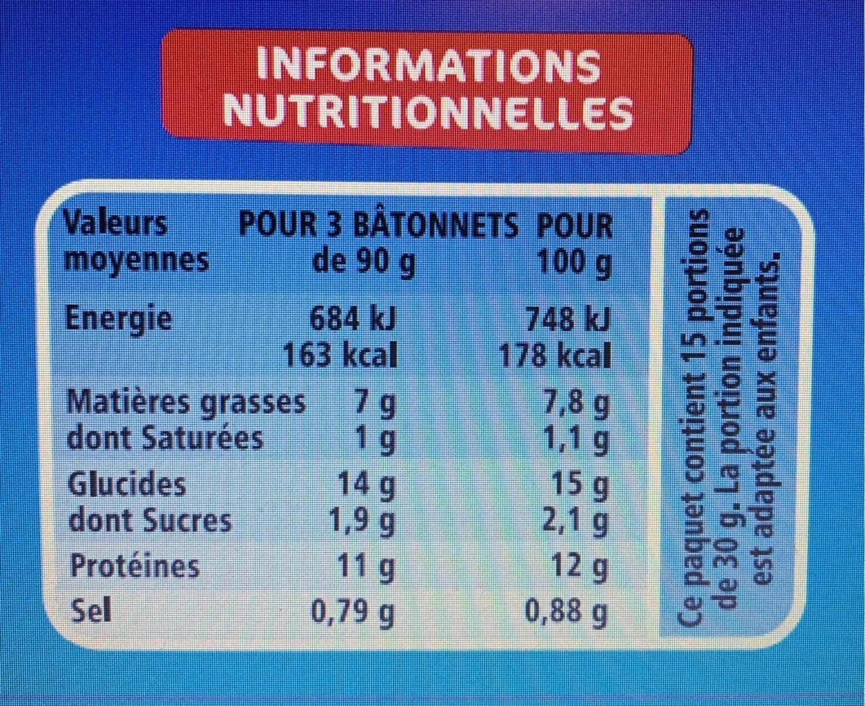 Bâtonnets de filets de colin d'Alaska panés - Informations nutritionnelles - fr