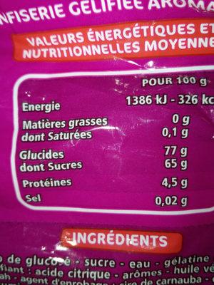 Nounours - Voedingswaarden - fr