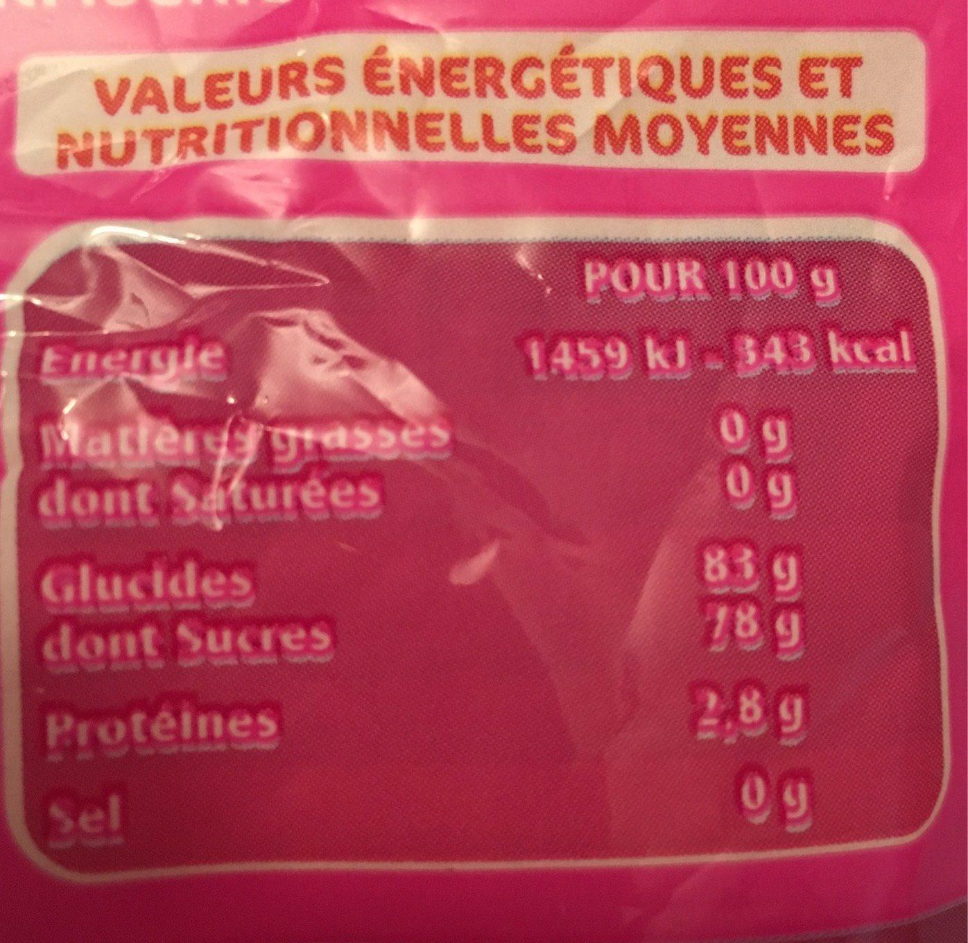 Fraises - Goût fraise - Informations nutritionnelles - fr