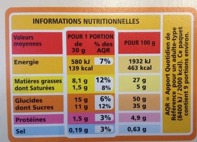 Brownie familial chocolat et pépites de chocolat - Nutrition facts