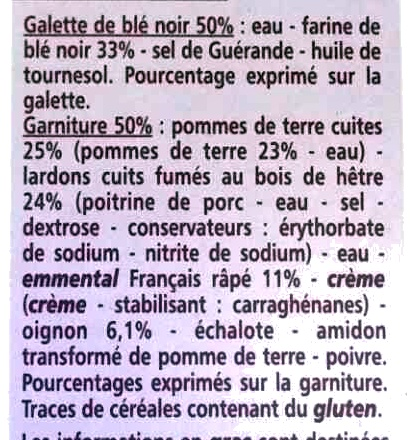 Galettes au Blé Noir, Pommes de Terre, Lardons Fumés, Oignons - Ingrédients - fr