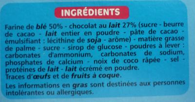 Sablés nappés choco lait - Ingrediënten