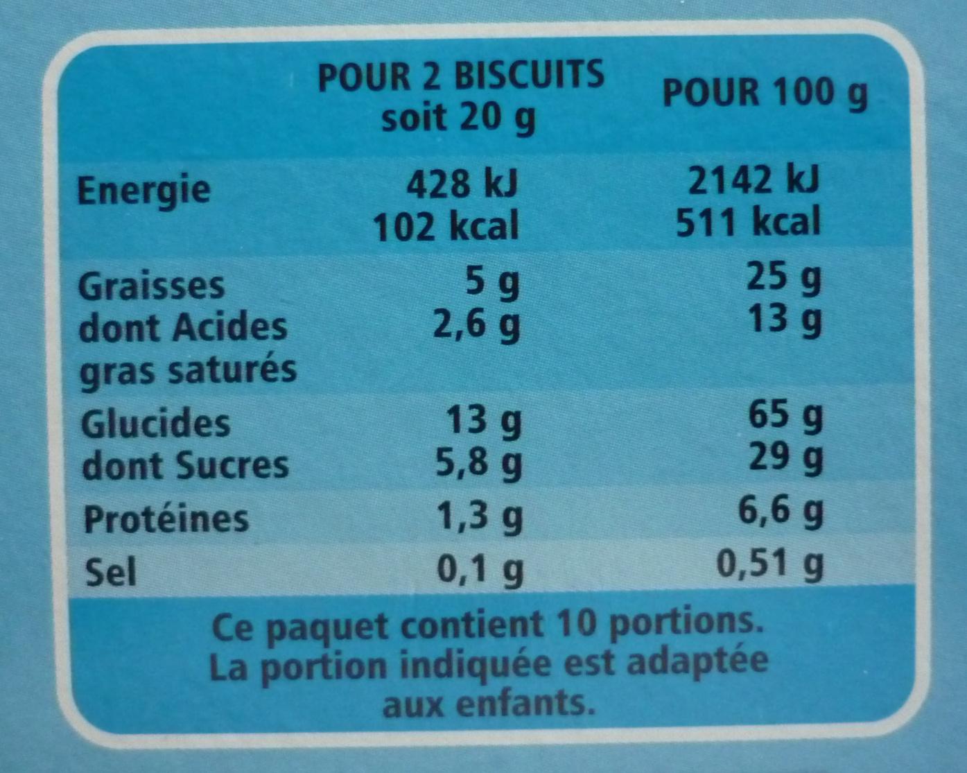 Sablés nappés choco lait - Voedigswaarden