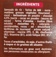 Céréales fourrage chocolat noisette - Ingrédients - fr