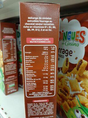 Céréales fourrage chocolat noisette - Informations nutritionnelles - fr
