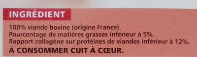 10 Steaks hachés Pur boeuf - 5% Mat. Gr. - Ingrediënten - fr