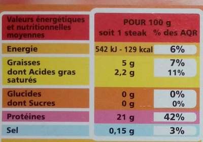 10 Steaks hachés Pur boeuf - 5% Mat. Gr. - Voedingswaarden - fr
