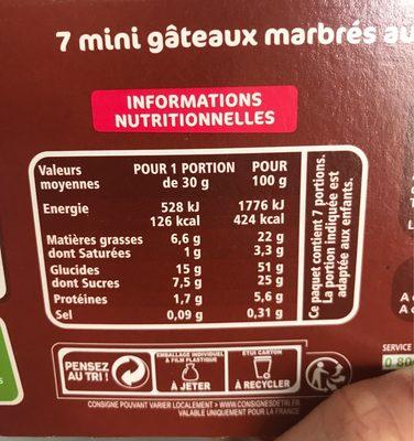 Mini marbrés choco - Informations nutritionnelles