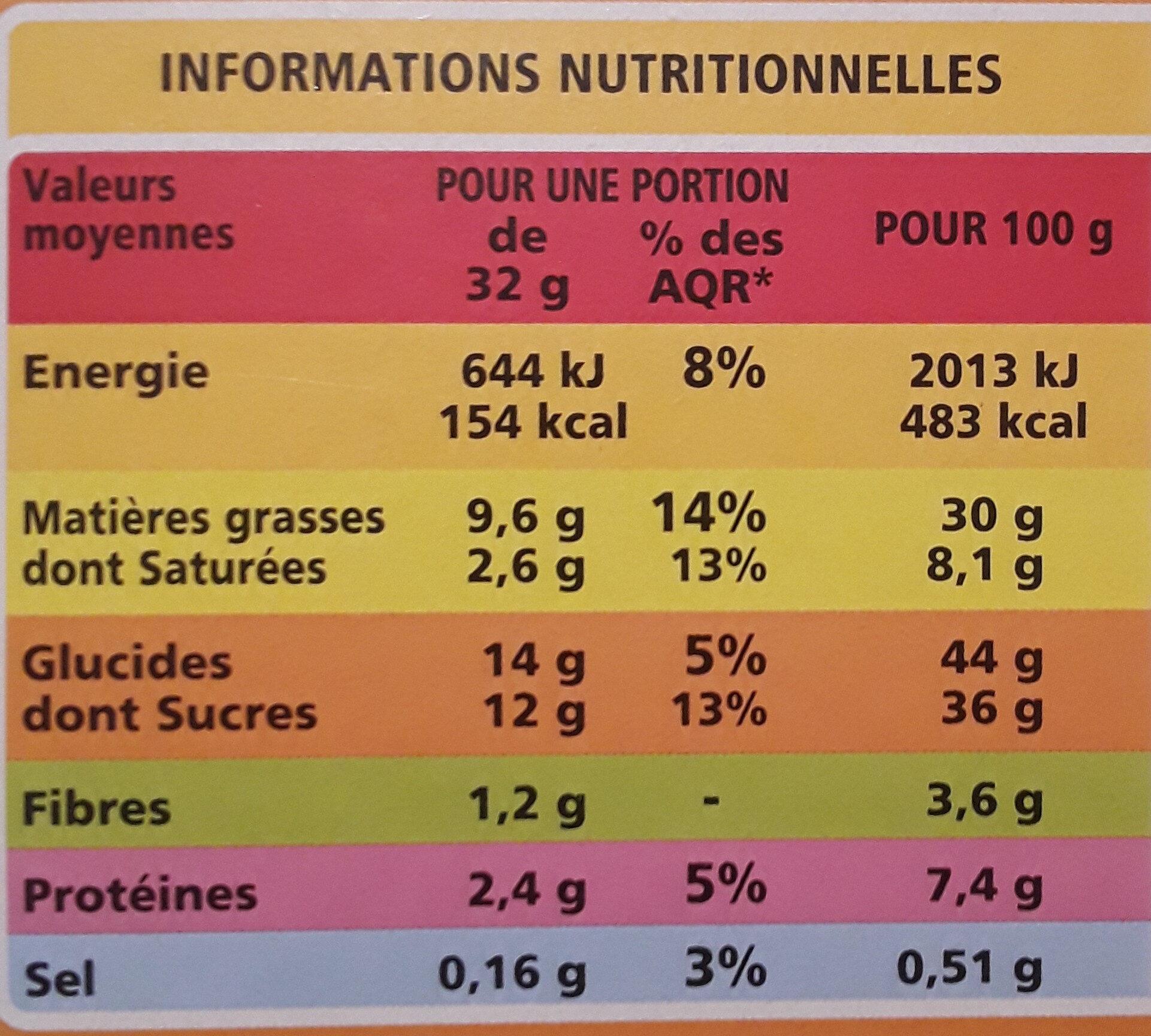 Brownie familial noisettes - Voedingswaarden - fr