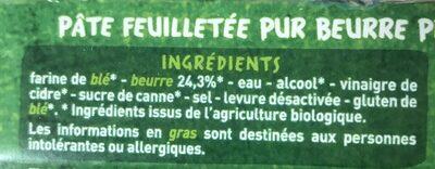 Pâte feuilletée pur beurre Bio - Ingrediënten
