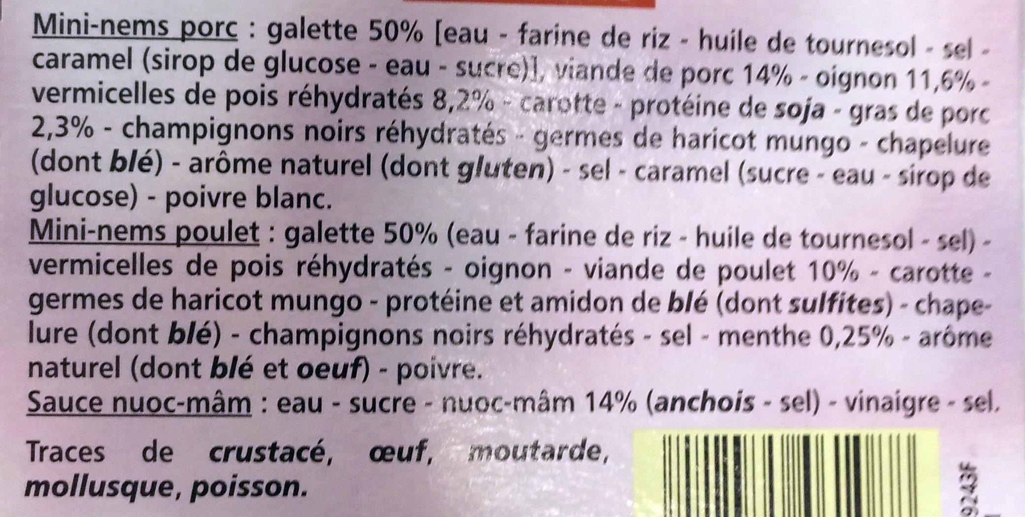 Plateau de mini nems 7 minis nems au porc 7 mini nems au poulet Sauce nuoc-mam - Ingrédients