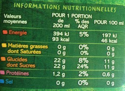 Pur Jus Pomme Mangue - Informations nutritionnelles - fr