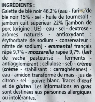Galette jambon emmental mozzarella - Ingrediënten