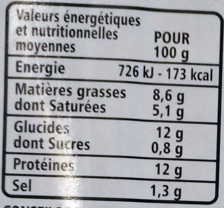 Galette jambon emmental mozzarella - Voedingswaarden