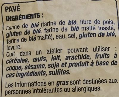 Pavé - Ingredients