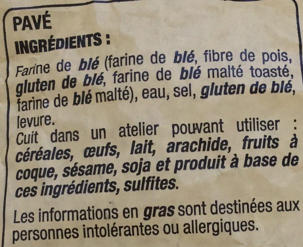 Pavé - Ingredients
