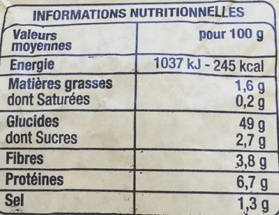 Pavé - Nutrition facts