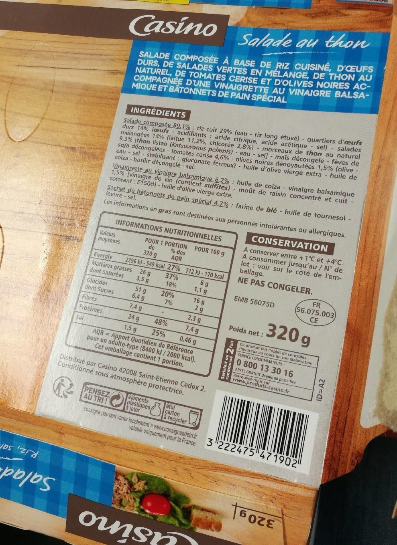 Salade riz œuf thon crudités - Produit - fr