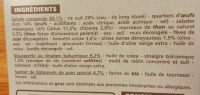 Salade riz œuf thon crudités - Ingrédients - fr