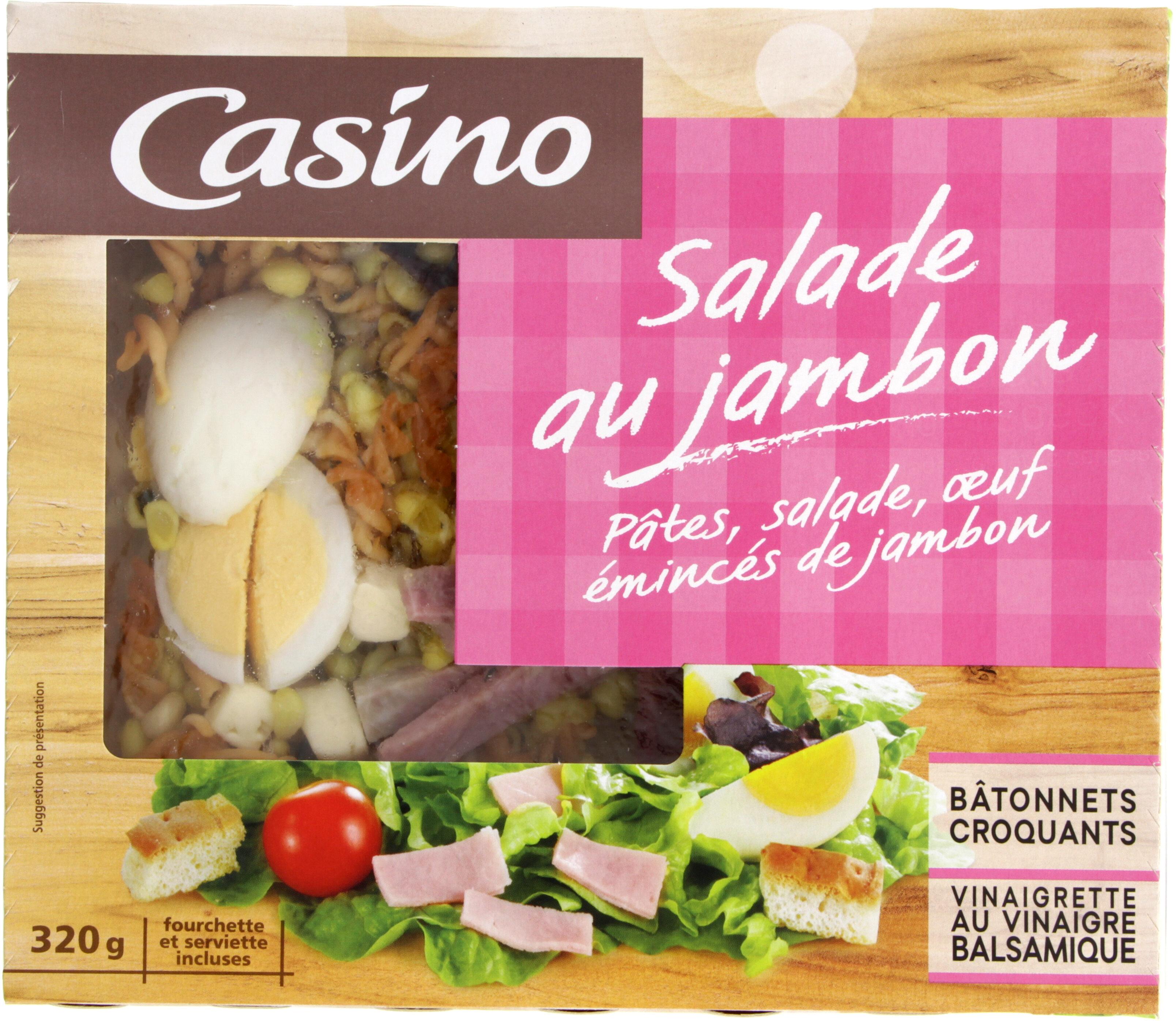 Salade au jambon : pâtes, salade, oeuf, émincés de jambon - Product