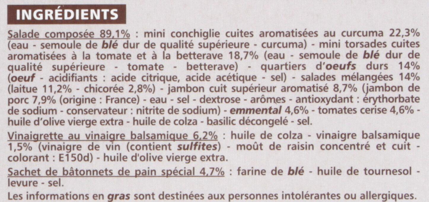 Salade au jambon : pâtes, salade, oeuf, émincés de jambon - Ingredients