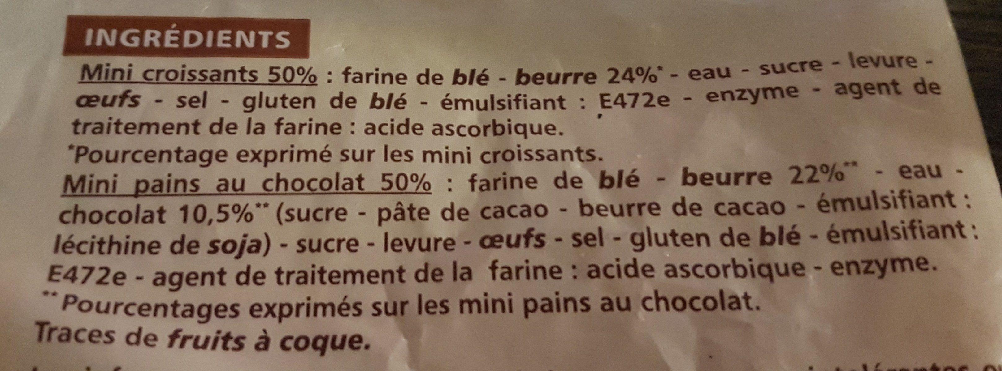 12 mini viennoiseries : mini croissants et mini pains au chocolat pur beurre - prêts à cuire - Ingredients - fr