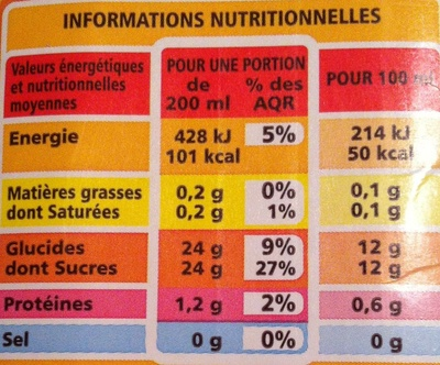 Nectar Orange Pêche Abricot - Voedingswaarden - fr