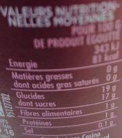 Griottes dénoyautées au sirop - Voedingswaarden - fr