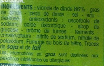 lardons de volaille fumés - Inhaltsstoffe - fr