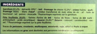 Tarte Epinards Chèvre - Ingrédients - fr