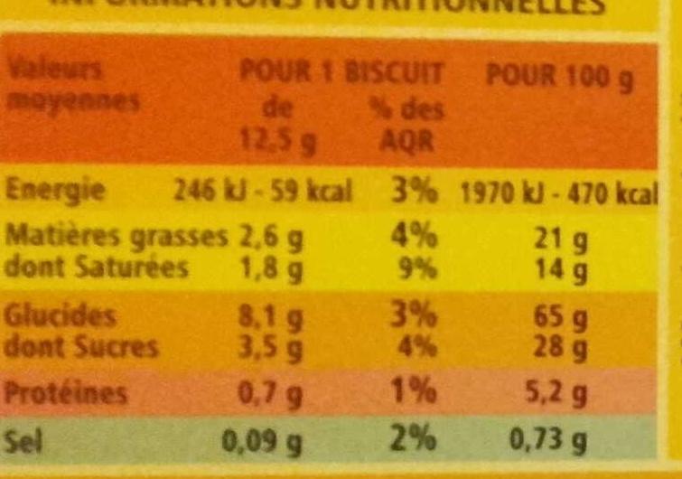 Sablés coeur saveur pomme façon tatin - Informations nutritionnelles - fr