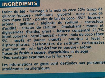 Sablés coeur saveur noix de coco - Ingrédients
