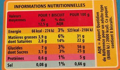 Sablés coeur saveur noix de coco - Informations nutritionnelles